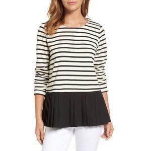 pleione • pleat striped top
